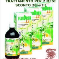 3 FLACONI SCONTO 20% FLUIDREN 12 FORTE ML500 ELIMINAZIONE LIQUIDI